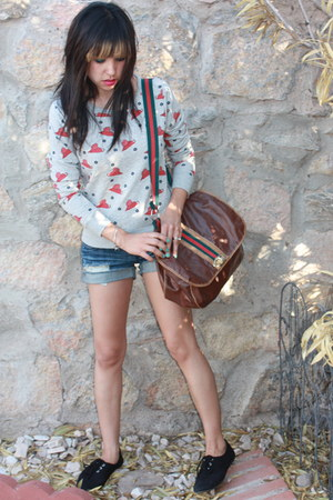 brown vintage bag - blue Hot Topic shorts - heather gray Forever 21 sweatshirt -