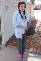 light blue button down random brand blouse - black Dooney and Burke purse