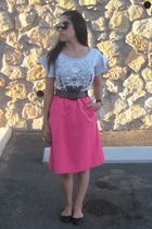silver H&M top - black Betsey Johnson belt - pink Goodwill skirt