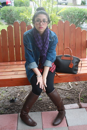 brown knee high Report boots - blue denim Levis jacket