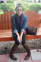 brown knee high Report boots - blue denim Levis jacket