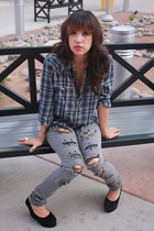 heather gray skinny jeans Hot Topic jeans - navy boyfriend calvin klein blouse