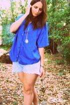 light blue cutoff Levis shorts - blue Playground Love Vintage blouse - silver st