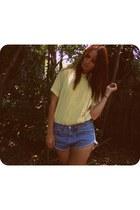 blue cutoff Levis shorts - light yellow Playground Love Vintage blouse