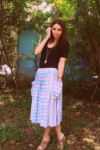 sky blue Playground Love Vintage skirt - black short sleeve American Apparel bod