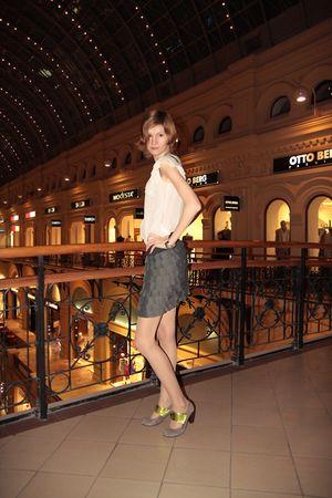 gray Chie Mihara shoes - gray BB Dakota skirt - white Zara blouse - silver unkno