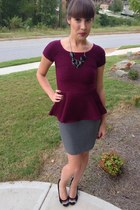maroon peplum Zara top - black chevron Missoni heels - gray Loft skirt