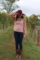 light brown Target boots - blue Forever 21 jeans - maroon H&M hat