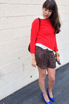 leopard Loft shorts - Zara sweater - Matt and Nat bag - Nine West pumps