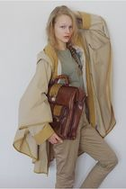 brown vintage purse - beige Thrift Store coat - beige lindex pants - green H&M t