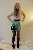 blue self-made skirt - white unknown top - black lindex tights - black unknown p