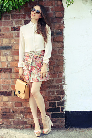 Zara bag - lace collar Forever 21 shirt - nude Givenchy sunglasses
