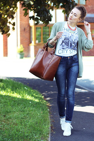 navy blue Topshop jeans - bronze tan next bag