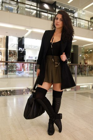 black leather tony bianco boots - black Cue blazer - black leather Miu Miu bag