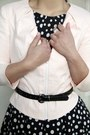 Black-polka-dot-cue-dress-light-pink-soft-cue-jacket