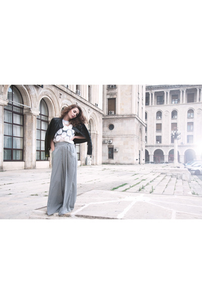 leather Laura Scott jacket - Zara pants - Primark blouse - Matalan wedges