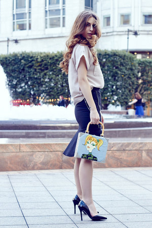 vintage bag - H&M shirt - Zara skirt - Quiz Clothing heels