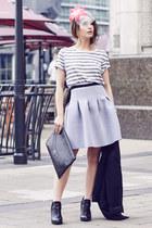 silver neoprene warehouse skirt - black leather Topshop boots