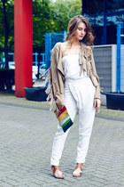 tan Laundry Boutique jacket - vintage bag - white Kookai romper