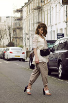 silk Maysson shirt - vintage bag - designers remix pants - Paper Dolls sandals