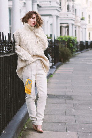 wool vintage jumper - Anna Sui bag - silk Maysson pants