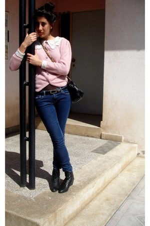 Laura Ashley jacket - hollister pants - vintage boots - vintage bag