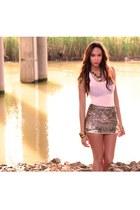 brown All Saints skirt - white H&M shirt - light brown All Saints necklace