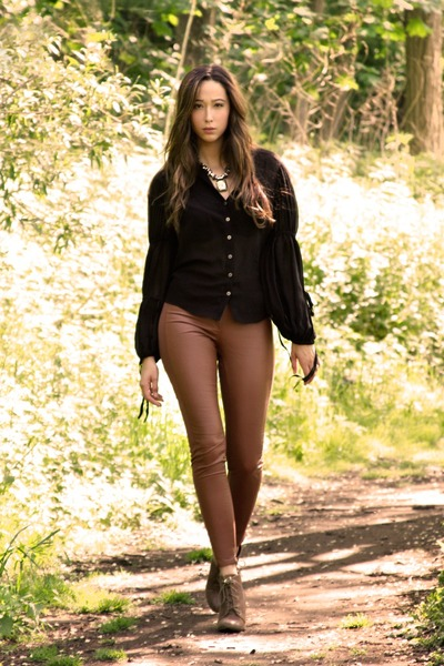 black All Saints blouse - brown All Saints necklace - H&M pants