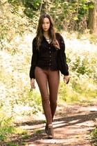 black All Saints blouse - brown All Saints necklace - H&M pants