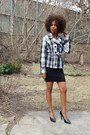 Black-mini-dress-dress-plaid-blazer-heels