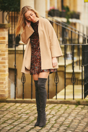 gray grey stuart weitzman boots - bronze Zara dress - camel wool Zara coat