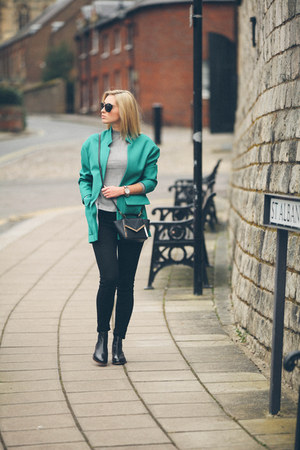 aquamarine green Primark jacket - black leather Office boots