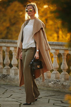 camel wool Zara coat - black leather Jimmy Choo bag