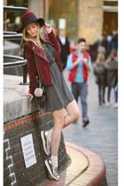 silver metallic Office shoes - black Primark dress - brick red Pimkie hat