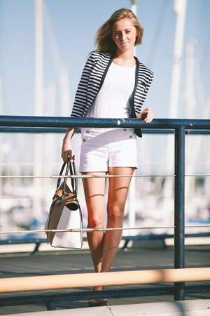 white white asos shorts - navy cotton H&M jacket - camel gold Michael Kors bag