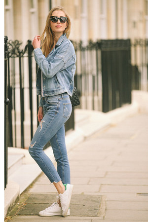 blue denim Zara jeans - blue denim Zara jacket - black leather Chanel bag
