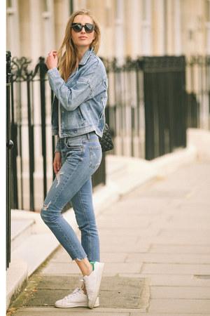 blue denim Zara jeans - blue denim Zara jacket - black leather Chanel bag