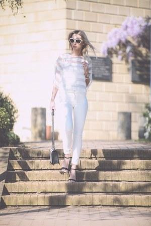 leather H&M bag - Zara jeans - Prada sunglasses - leather Office sandals