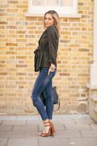 army green khaki H&M jacket - navy denim Zara jeans - black leather Prada bag