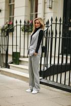 heather gray grey Topshop pants - black leather Chanel bag