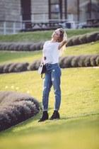 denim Zara jeans - leather River Island boots - white Zara blouse