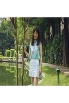 light blue azurechiffon Wholesale7 blouse - white whiteshoes Wholesale7 shoes