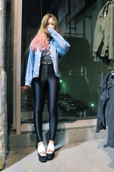 sky blue boyfriend style Urban Outfitters jacket - white  Jeffrey Campbell shoes