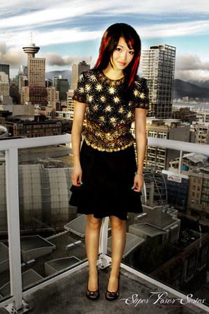 black thrifted vintage dress - mustard thrifted vintage shirt