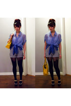 dark gray House of Holland stockings - blue thrifted shirt