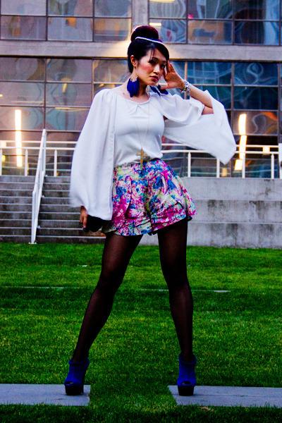 hot pink Sugarlips shorts - white chiffon Wholesale7 cape