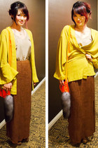 mustard kimono One Teaspoon jacket - beige silk wilfred shirt