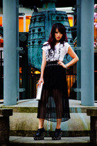 silver silver clutch Aldo purse - black studded BCBG belt - black thrifted skirt