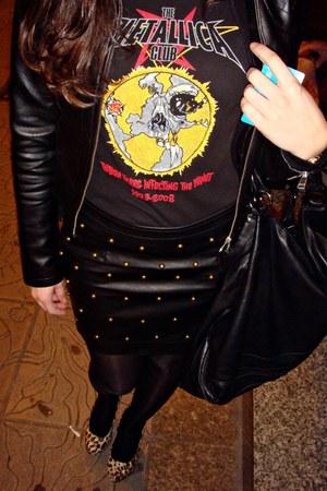 leopard print shoes - metallica shirt - tacks skirt
