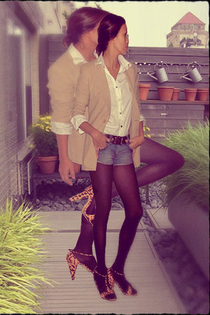 ann taylor blazer - ann taylor shirt - denim cut-offs abercrombie & fitch shorts